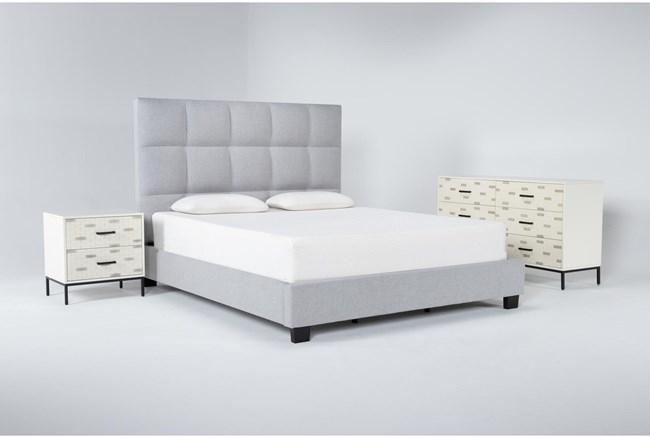 Boswell 3 Piece Eastern King Upholstered Storage Bedroom Set With Elden Dresser + 2 Drawer Nightstand - 360