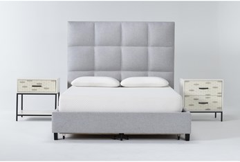 Boswell 3 Piece Queen Upholstered Storage Bedroom Set With Elden 2 Drawer Nightstand + 1 Drawer Nightstand