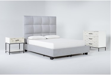 Boswell 3 Piece Queen Upholstered Storage Bedroom Set With Elden Bachelors Chest + 1 Drawer Nightstand
