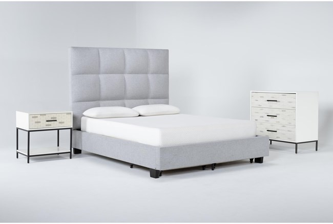 Boswell 3 Piece Queen Upholstered Storage Bedroom Set With Elden Bachelors Chest + 1 Drawer Nightstand - 360