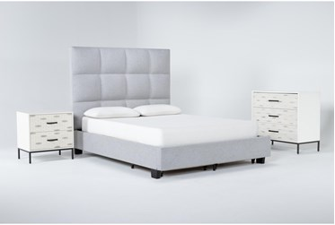 Boswell 3 Piece Queen Upholstered Storage Bedroom Set With Elden Bachelors Chest + 2 Drawer Nightstand