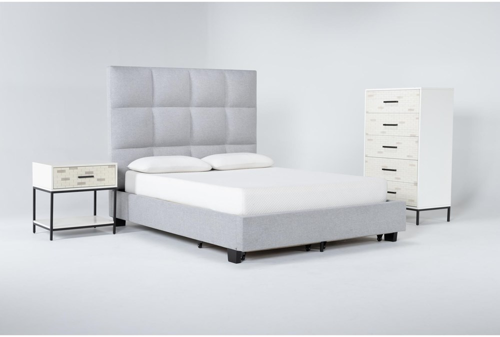 Boswell 3 Piece Queen Upholstered Storage Bedroom Set With Elden Chest Of Drawers + 1 Drawer Nightstand