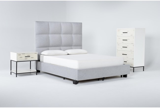 Boswell 3 Piece Queen Upholstered Storage Bedroom Set With Elden Chest Of Drawers + 1 Drawer Nightstand - 360