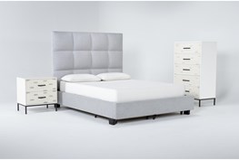 Boswell 3 Piece Queen Upholstered Storage Bedroom Set With Elden Chest Of Drawers + 2 Drawer Nightstand