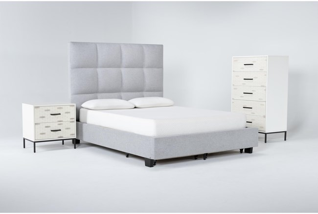 Boswell 3 Piece Queen Upholstered Storage Bedroom Set With Elden Chest Of Drawers + 2 Drawer Nightstand - 360