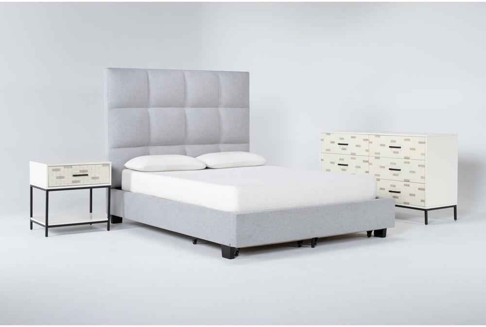 Boswell 3 Piece Queen Upholstered Storage Bedroom Set With Elden Dresser + 1 Drawer Nightstand