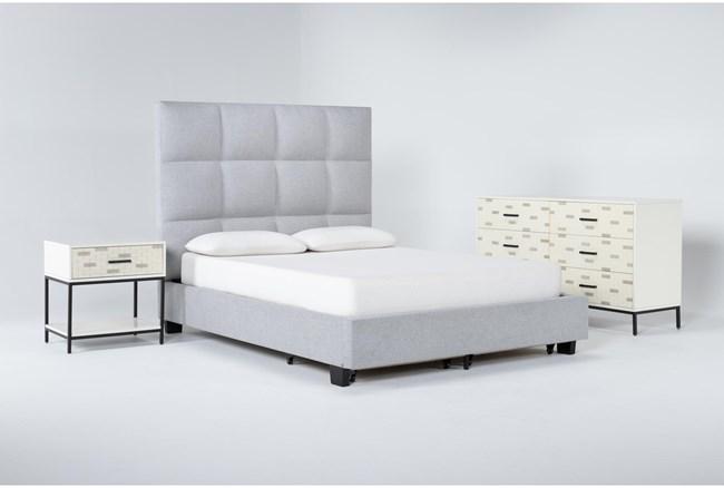 Boswell 3 Piece Queen Upholstered Storage Bedroom Set With Elden Dresser + 1 Drawer Nightstand - 360