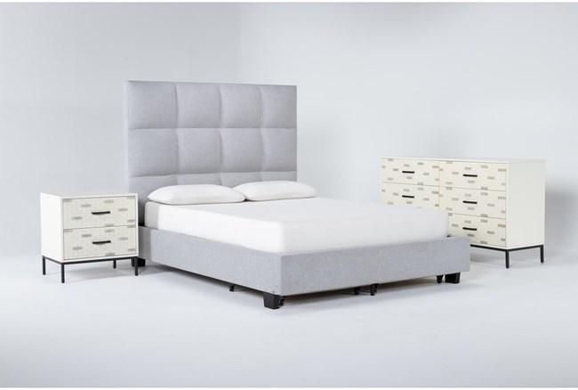 Boswell 3 Piece Queen Upholstered Storage Bedroom Set With Elden Dresser + 2 Drawer Nightstand - 360