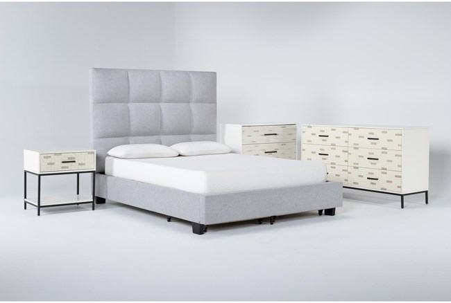 Boswell 4 Piece Queen Upholstered Storage Bedroom Set With Elden Dresser, Bachelors Chest + 1 Drawer Nightstand - 360