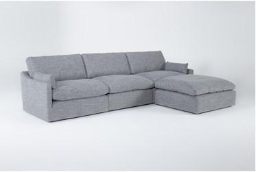 """Jil Grey 131"""" 3 Piece Sofa With Ottoman"""