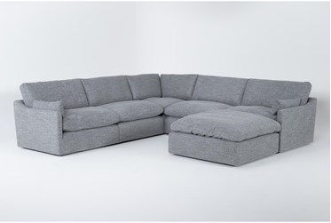 """Jil Grey 127"""" 5 Piece Sectional With Ottoman"""