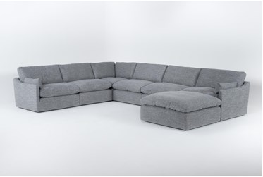 """Jil Grey 168"""" 6 Piece Sectional With Ottoman"""