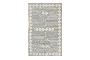 """2'6""""X8' Rug- Tribal Blue And Natural With Border"""