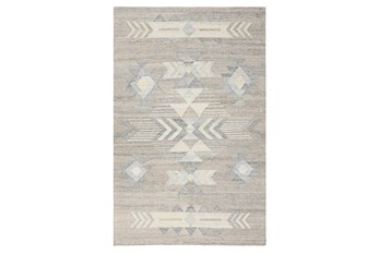 5'X8' Rug- Tribal Blue And Natural With Border