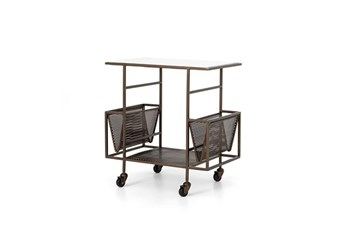 Marble Top + Brass Finish Rolling Cart