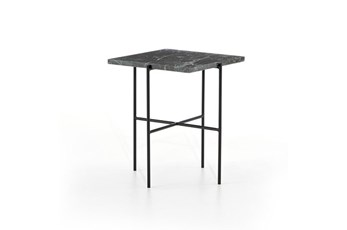 Dark Green Marble + Iron Accent Table