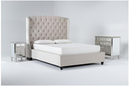 Mariah 3 Piece California King Velvet Upholstered Bedroom Set With Chelsea Chest Of Drawers + Nightstand