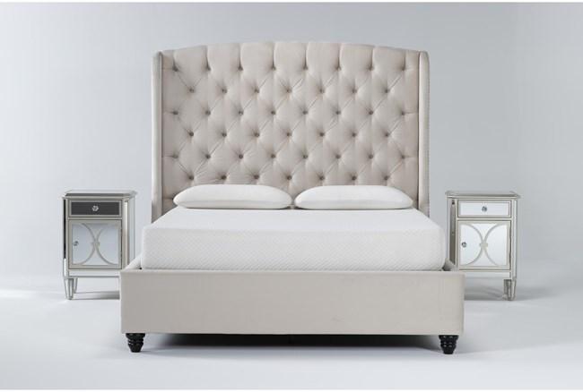 Mariah 3 Piece California King Velvet Upholstered Bedroom Set With 2 Chelsea Nightstands - 360
