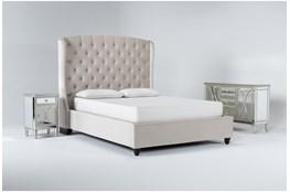 Mariah 3 Piece California King Velvet Upholstered Bedroom Set With Chelsea Sideboard + Nightstand