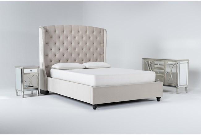 Mariah 3 Piece California King Velvet Upholstered Bedroom Set With Chelsea Sideboard + Nightstand - 360