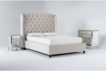 Mariah 3 Piece Eastern King Velvet Upholstered Bedroom Set With Chelsea Chest Of Drawers + Nightstand