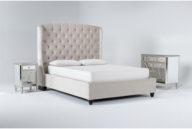 Mariah 3 Piece Eastern King Velvet Upholstered Bedroom Set With Chelsea Chest Of Drawers + Nightstand - 360
