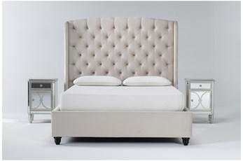 Mariah 3 Piece Eastern King Velvet Upholstered Bedroom Set With 2 Chelsea Nightstands