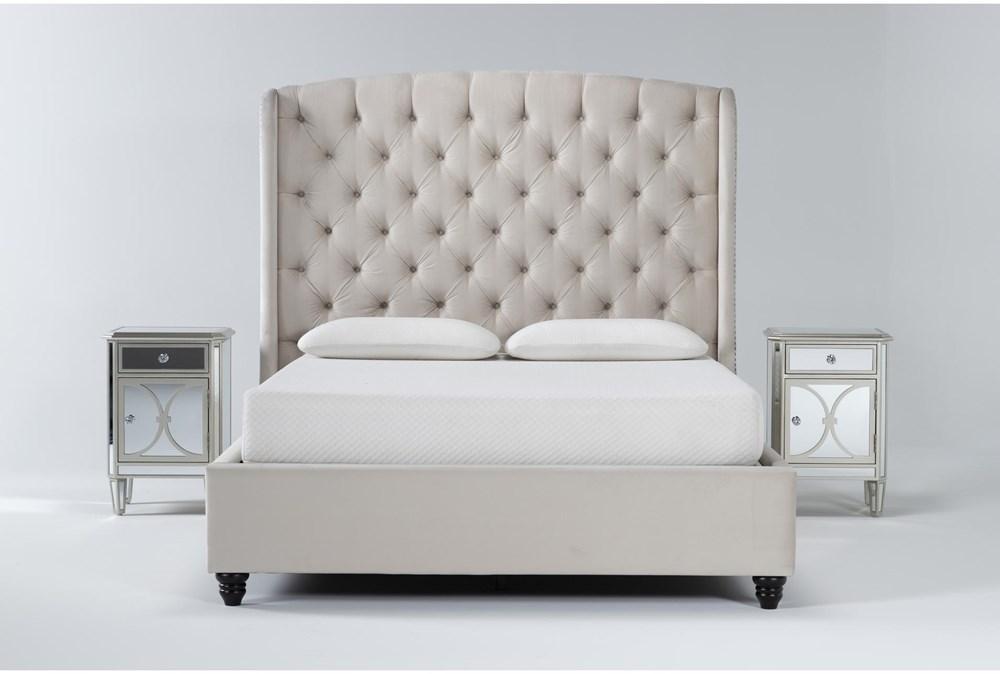 Mariah 3 Piece Queen Velvet Upholstered Bedroom Set With 2 Chelsea Nightstands