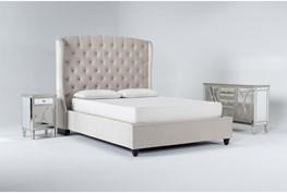 Mariah 3 Piece Queen Velvet Upholstered Bedroom Set With Chelsea Sideboard + Nightstand