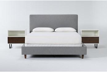 Dean Charcoal 3 Piece Queen Upholstered Bedroom Set With 2 Clark 1 Drawer Nightstands