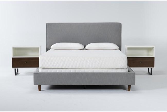Dean Charcoal 3 Piece Queen Upholstered Bedroom Set With 2 Clark 1 Drawer Nightstands - 360