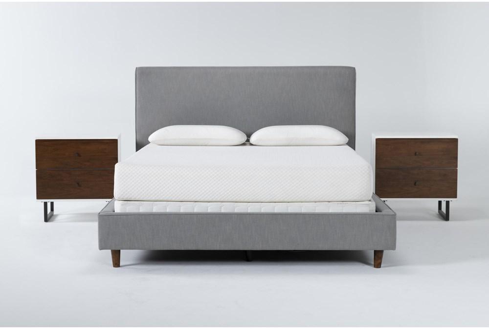 Dean Charcoal 3 Piece Queen Upholstered Bedroom Set With 2 Clark 2 Drawer Nightstands