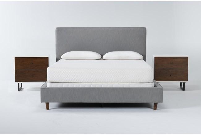 Dean Charcoal 3 Piece Queen Upholstered Bedroom Set With 2 Clark 2 Drawer Nightstands - 360