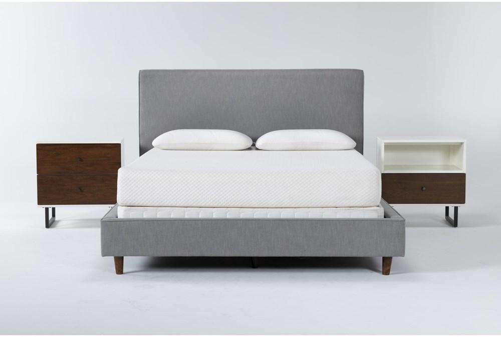 Dean Charcoal 3 Piece Queen Upholstered Bedroom Set With Clark 2 Drawer Nightstand + 1 Drawer Nightstand
