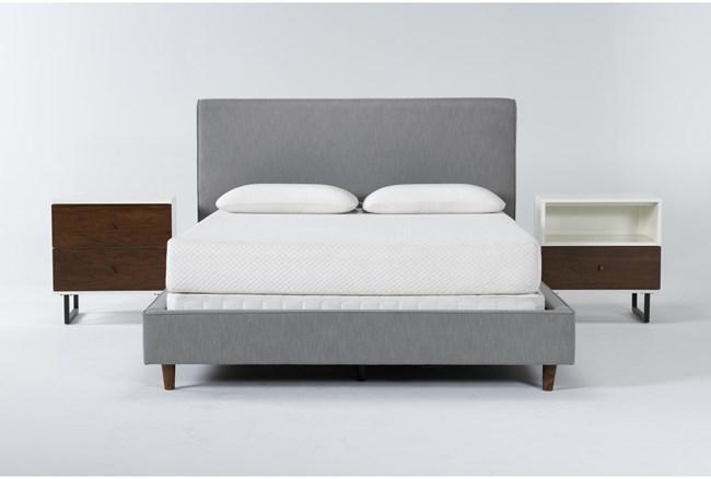 Dean Charcoal 3 Piece Queen Upholstered Bedroom Set With Clark 2 Drawer Nightstand + 1 Drawer Nightstand - 360