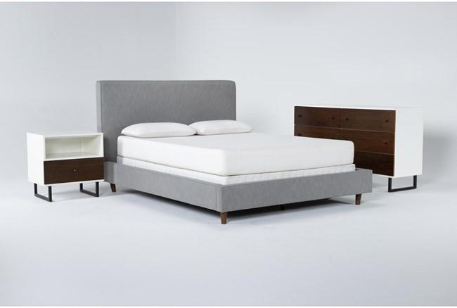 Dean Charcoal 3 Piece Queen Upholstered Bedroom Set With Clark Dresser + 1 Drawer Nightstand - 360