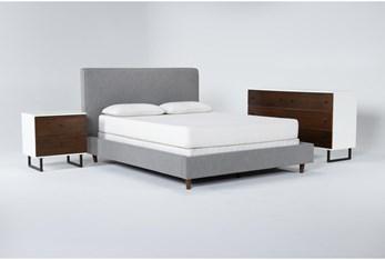 Dean Charcoal 3 Piece Queen Upholstered Bedroom Set With Clark Dresser + 2 Drawer Nightstand
