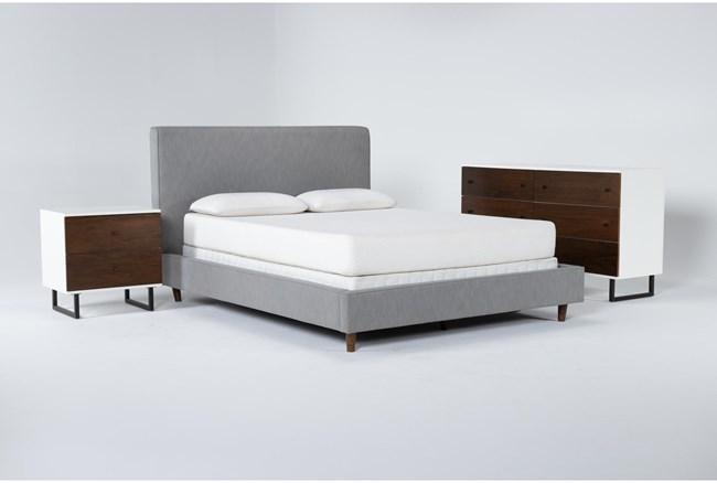 Dean Charcoal 3 Piece Queen Upholstered Bedroom Set With Clark Dresser + 2 Drawer Nightstand - 360