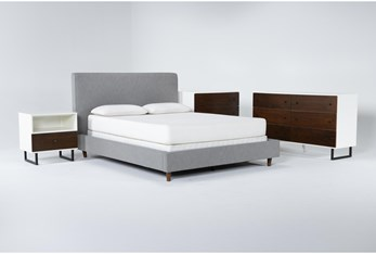 Dean Charcoal 4 Piece Queen Upholstered Bedroom Set With Clark Dresser, Bachelors Chest + 1 Drawer Nightstand