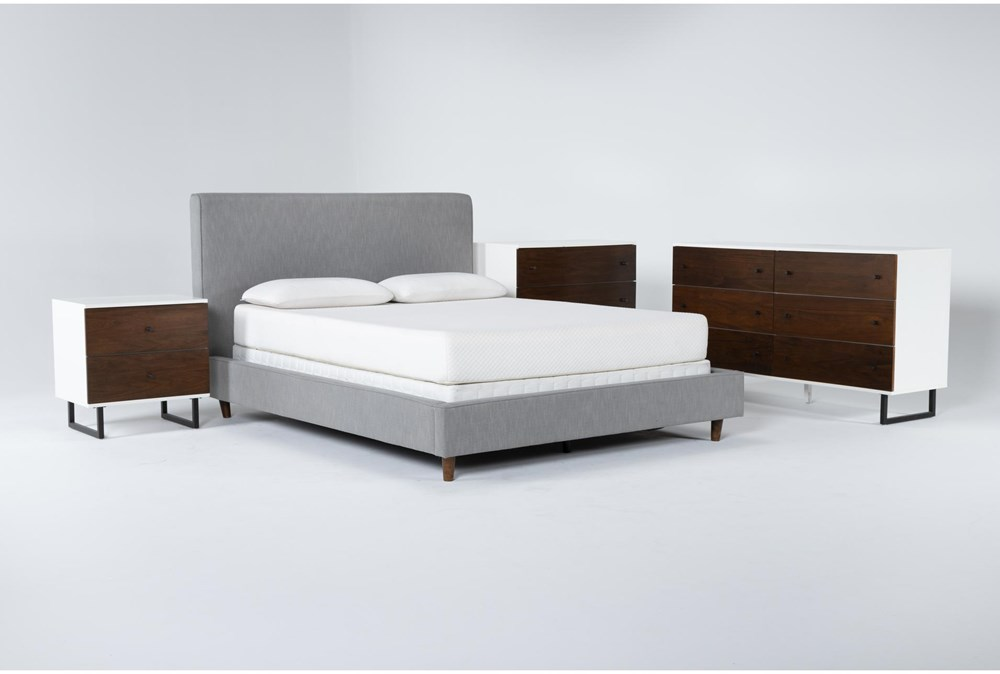 Dean Charcoal 4 Piece Queen Upholstered Bedroom Set With Clark Dresser, Bachelors Chest + 2 Drawer Nightstand