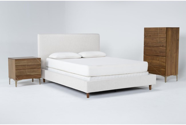 Dean Sand 3 Piece California King Upholstered Bedroom Set With Talbert Chest Of Drawers + 2 Drawer Nightstand - 360