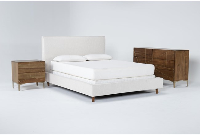 Dean Sand 3 Piece California King Upholstered Bedroom Set With Talbert Dresser + 2 Drawer Nightstand - 360