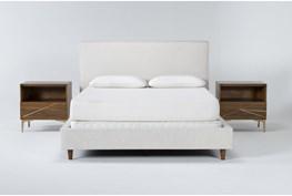 Dean Sand 3 Piece Eastern King Upholstered Bedroom Set With 2 Talbert 1 Drawer Nightstands