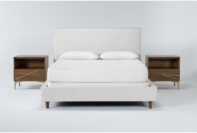 Dean Sand 3 Piece Eastern King Upholstered Bedroom Set With 2 Talbert 1 Drawer Nightstands - 360