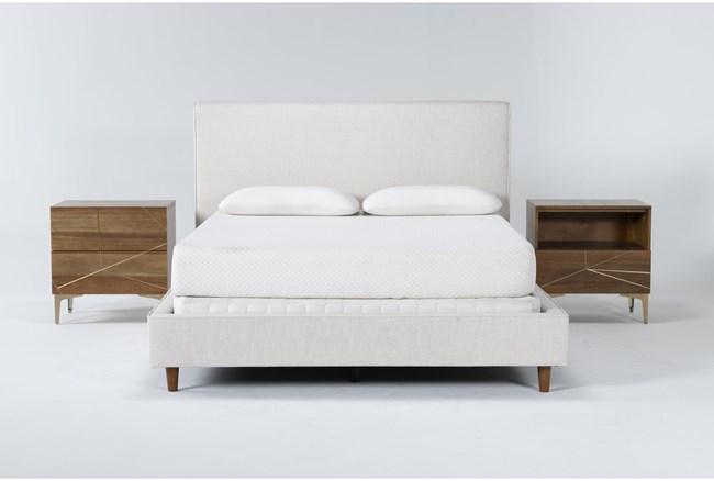 Dean Sand 3 Piece Eastern King Upholstered Bedroom Set With Talbert 2 Drawer Nightstand +1 Drawer Nightstand - 360