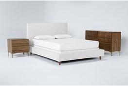 Dean Sand 3 Piece Eastern King Upholstered Bedroom Set With Talbert Dresser + 2 Drawer Nightstand