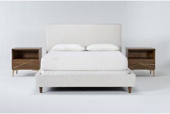 Dean Sand 3 Piece Queen Upholstered Bedroom Set With 2 Talbert 1 Drawer Nightstands