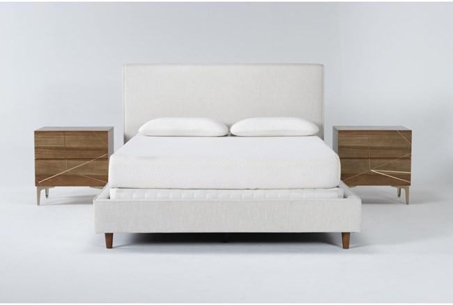 Dean Sand 3 Piece Queen Upholstered Bedroom Set With 2 Talbert 2 Drawer Nightstands - 360