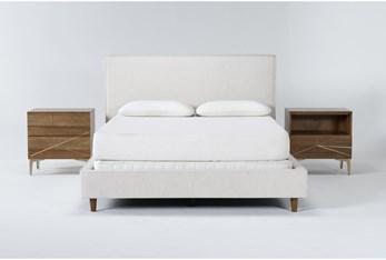 Dean Sand 3 Piece Queen Upholstered Bedroom Set With Talbert 2 Drawer Nightstand + 1 Drawer Nightstand