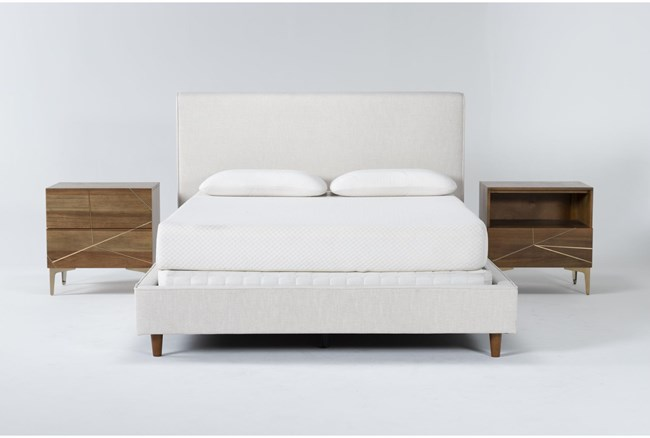 Dean Sand 3 Piece Queen Upholstered Bedroom Set With Talbert 2 Drawer Nightstand + 1 Drawer Nightstand - 360